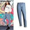 Nova Moda Azul Fácil Perna Reta Oco Rebites de Metal Cintura Alta Jeans Femme Baggy Soltas Boyfriend Jeans para As Mulheres