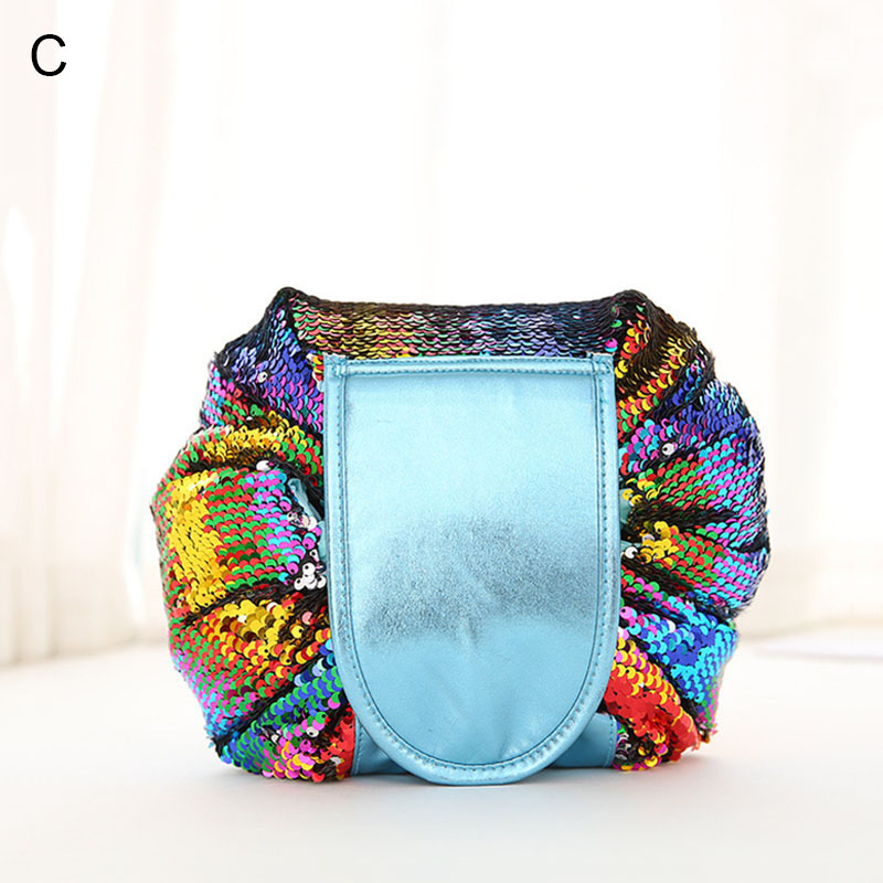 50 Faul Pailletten Kordelzug Marke Doppelseitige Wasserdicht Make los Tasche Meerjungfrau Mode Organizer up Frauen Teile rvwvIC