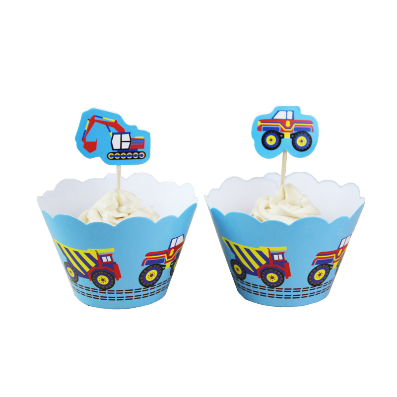 24pcs Lot Construction Vehicle Paper Cupcake Wrappers Toppers For Kids Party Birthday Decoration Cake Cups12 Wraps 12 Topper