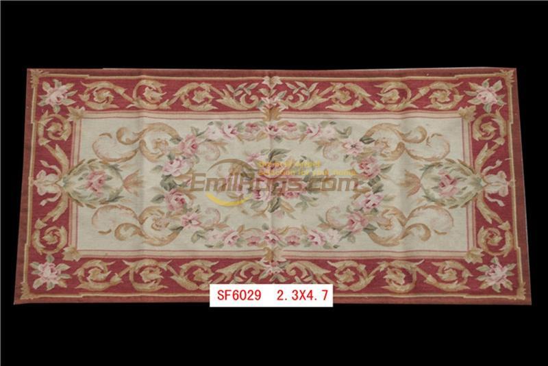 Tapis à tricoter classique fait main antique Aubusson tapis Antique laine française 19th siècle Aubusson tapis