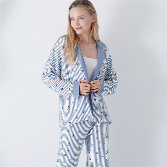 8542658d9e Women s pajama sets blue white striped with cute cherry printed sweet  autumn pajamas Japanese style brief pyjamas for ladies