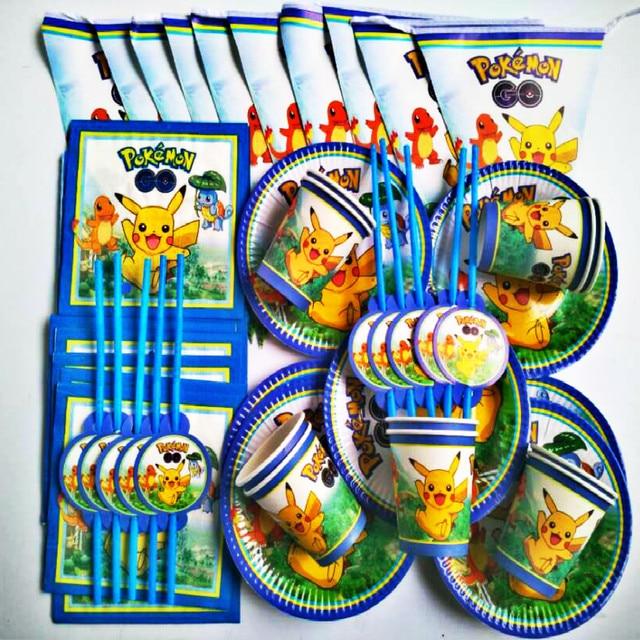 51pcs Pokemon Go Theme Birthday Party Decorations Kids Baby Shower Supplies Tableware Set Paper Plates