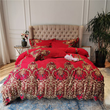 New Red Blue Green Luxury 100S Egyptian Cotton Royal  Wedding Bedding Set Gold Rose Lace Duvet Cover Bed Linen/sheet Pillowcases