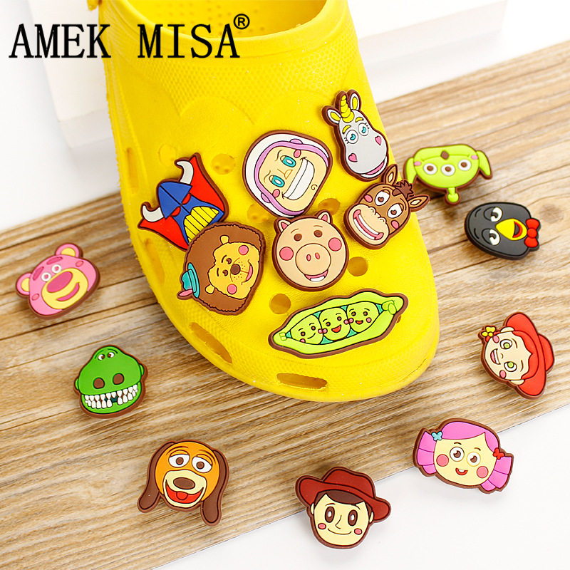 14Pcs/Lot PVC Cartoon Shoe Decorations Toy Story Shoe Charms Buckle Accessories Fit Children's Gifts/Croc/Wristband/JIBZ D37