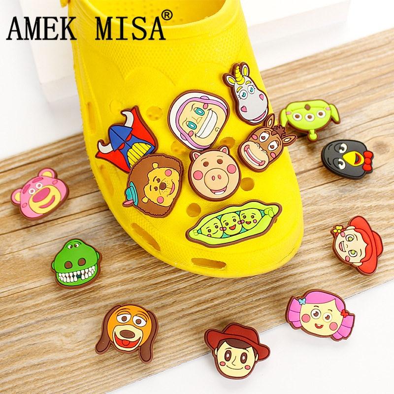 14Pcs/Lot PVC Cartoon Shoe Decorations Toy Story Shoe Charms Buckle Accessories Fit Children's Gifts/Croc/Wristband/JIBZ D37