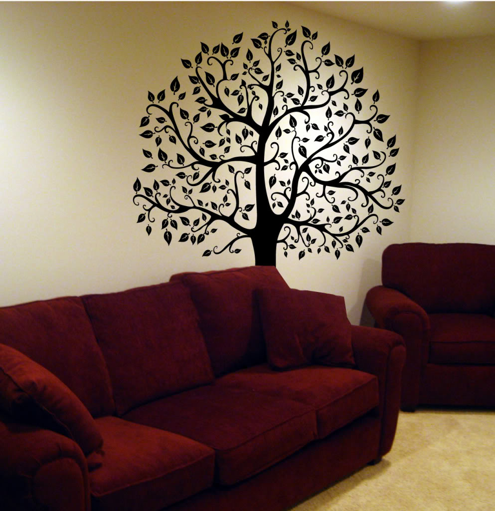 Wall decal big tree decor art sticker mural in black white pink wall decal big tree decor art sticker mural in black white pink wall stickers for kids room nursery baby wall decals d803 in wall stickers from home amipublicfo Gallery