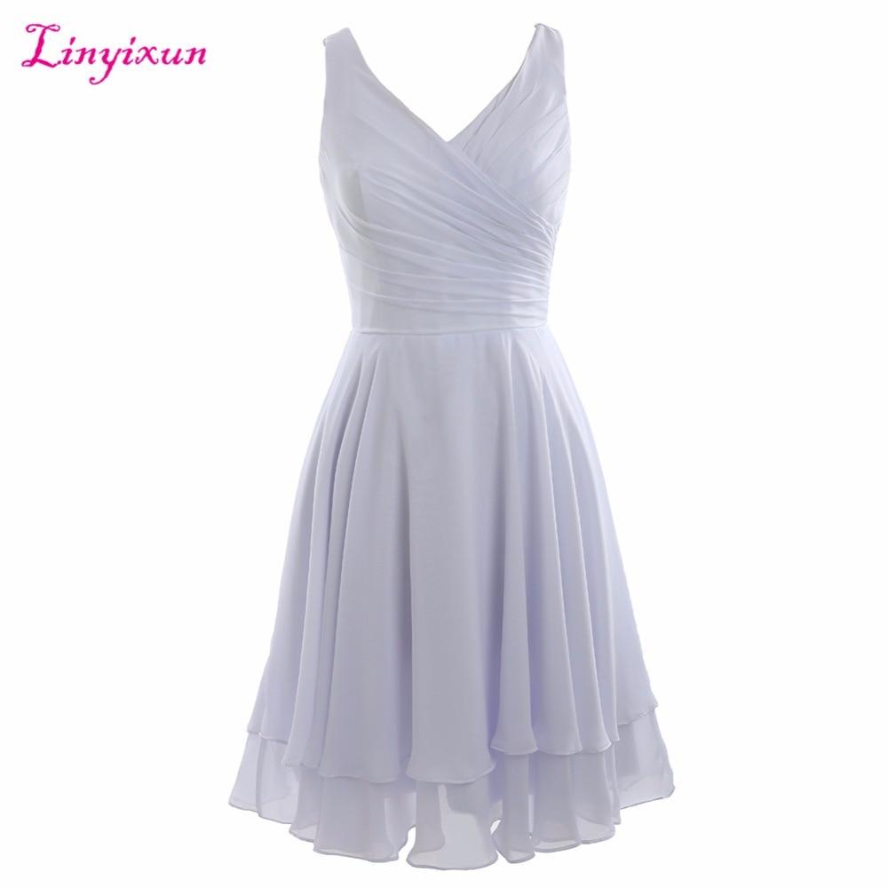 Linyixun Real Photo Short   Prom     Dresses   Vestido De Festa Curto 2018   Dress   for Graduation Green Chiffon V-Neck Cheap Party Gowns