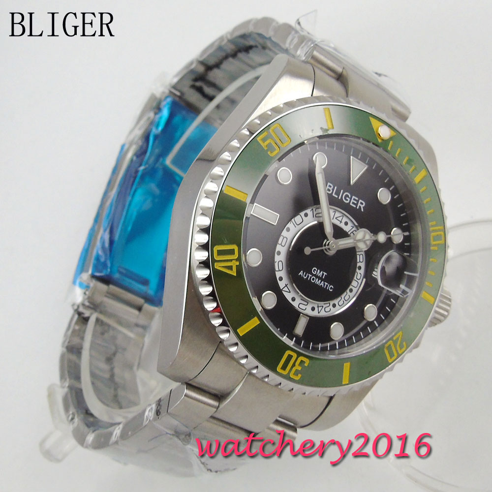 New 43mm Bliger black dial green ceramic bezel luminous date window GMT sapphire glass Mingzhu Automatic movement Mens WatchNew 43mm Bliger black dial green ceramic bezel luminous date window GMT sapphire glass Mingzhu Automatic movement Mens Watch