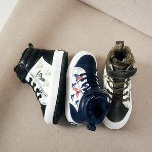 Image 4 - Herfst Winter Jongens Mode Laarzen voor Kinderen Schoenen Leer Waterdicht Sneeuw Boot Kids Ankle Martin Laarzen Pluche Warm Sport Schoenen