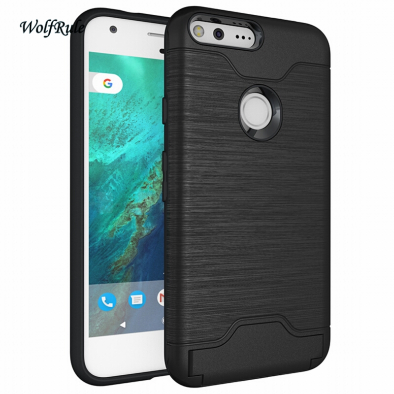 For Phone Case Google Pixel Cover 5.0 Inch Shockproof TPU + PC Brushed Armor Google Pixel Case Stand Card Slot Funda
