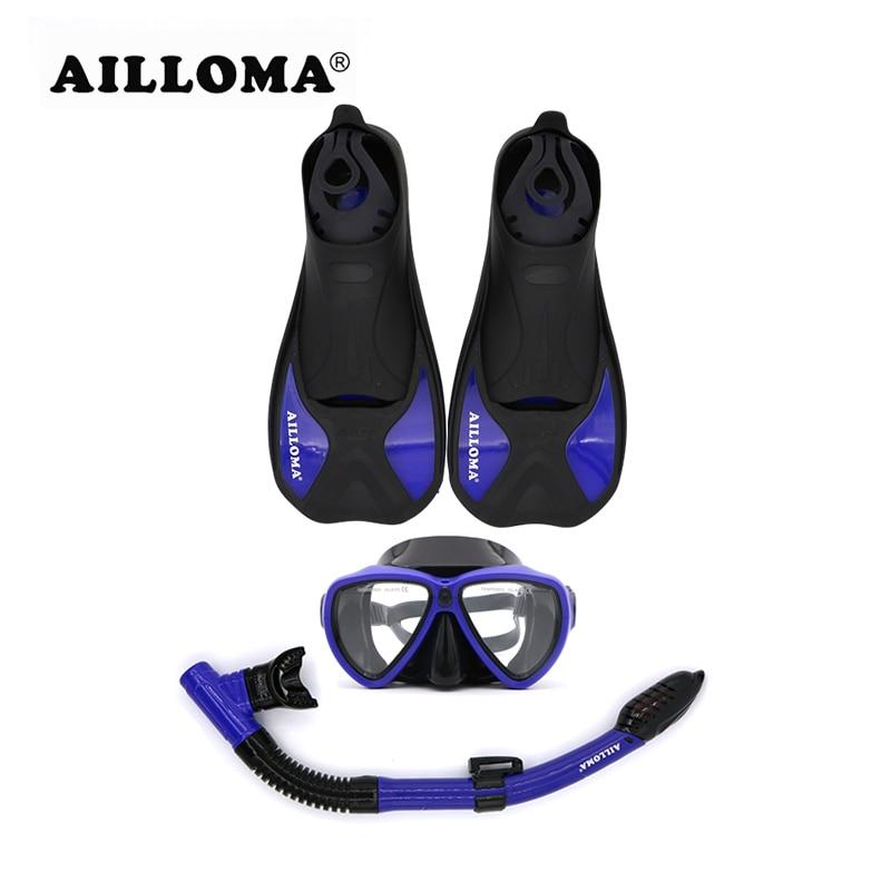 AILLOMA 3 Pieces Adult Scuba Diving Mask Snorkel Fliper Set TPR Rubber Swimming Fins Tube Flipper