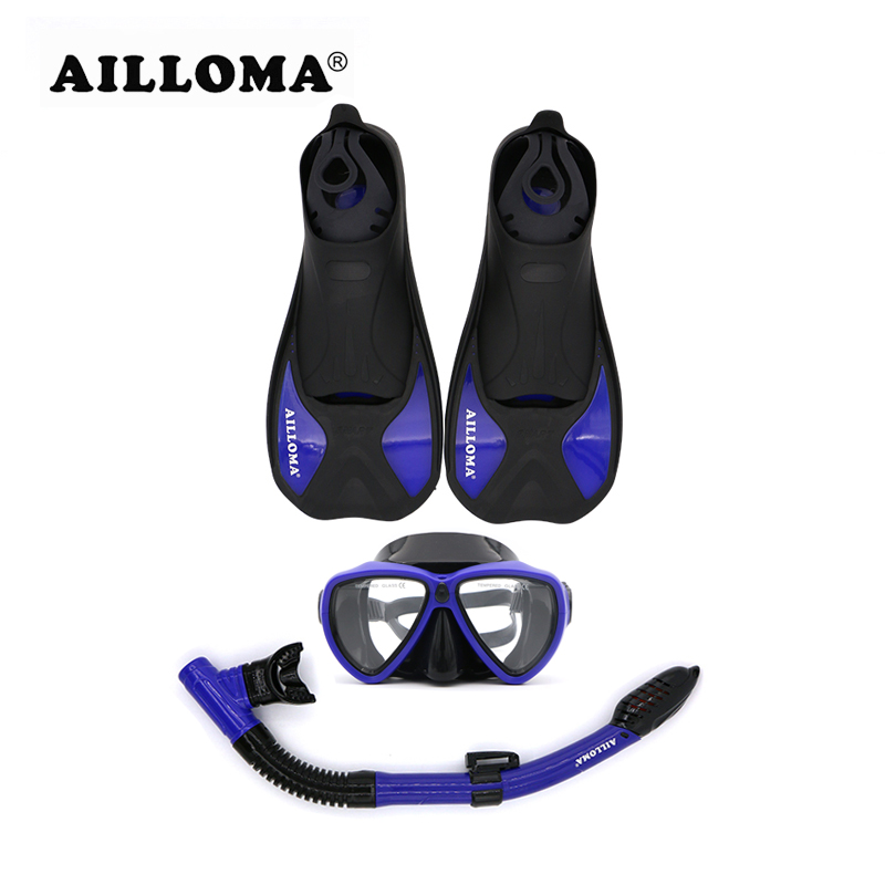 AILLOMA 3 Pieces Adult Scuba Diving Mask Snorkel Fliper Set TPR Rubber Swimming Fins Tube Flipper Anti-Fog Breathing Equipment latex mask with tube rubber party mask full cover attached funnel plus size hot sale adult products sexy life