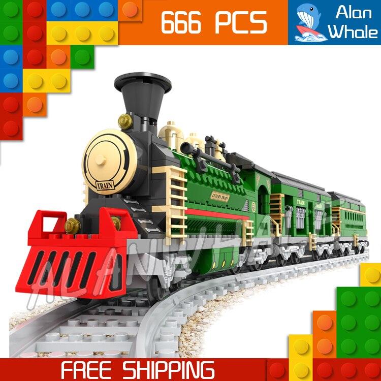 666 pièces créateur de luxe vacances d'hiver Trains rouge Locomotive 25904 Figure blocs de construction jouets ferroviaires compatibles avec LegoING