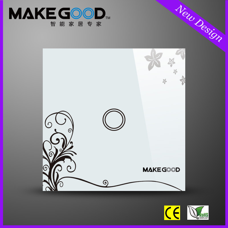 MakeGood Crystal Glass Panel 1 Gang 1 Way Touch Screen Light Switch , Wall Switches with blue LED indicator for EU Standard Led makegood uk standard 2 gang 1 way smart touch switch crystal glass panel wall switch ac 110 250v 1000w for light led indicator