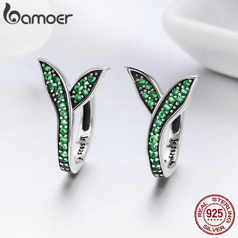 BAMOER 100 925 Sterling Silver Spring Collection Flower Buds Green CZ Hoop Earrings for Women Sterling BAMOER 100% 925 Sterling Silver Spring Collection Flower Buds Green CZ Hoop Earrings for Women Sterling Silver Jewelry SCE295