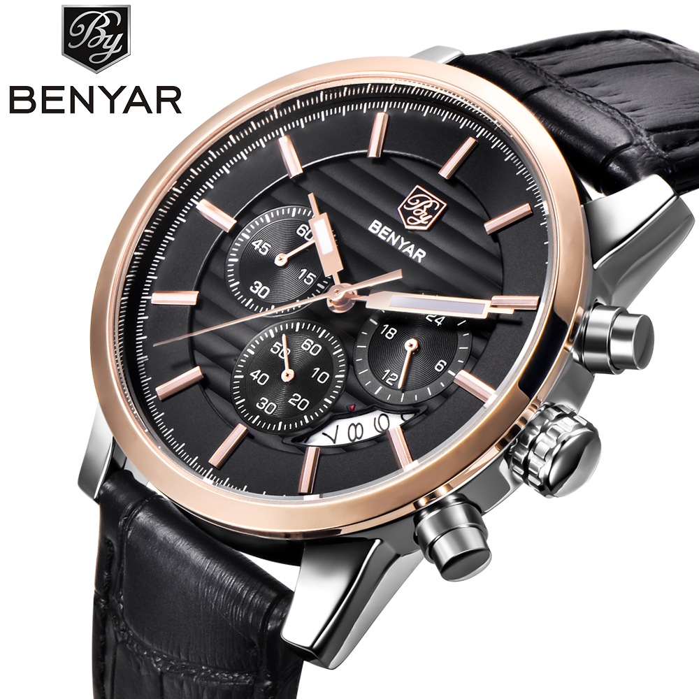 2018 <font><b>BENYAR</b></font> Fashion Chronograph Sport Mens Watches Top Brand Luxury Military Quartz Watch Clock Relogio Masculino Reloj Hombre image