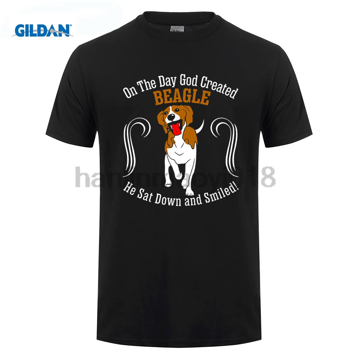 GILDAN God Created Beagle Dog Sat Down Smiled T-Shirt