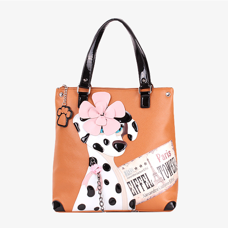 Women Messenger Bag Leather Patchwork Embroidery Female Handbags Shoulder Bags Braccialini Style Cartoon Dalmatian Spotted Dog in Shoulder Bags from Luggage Bags