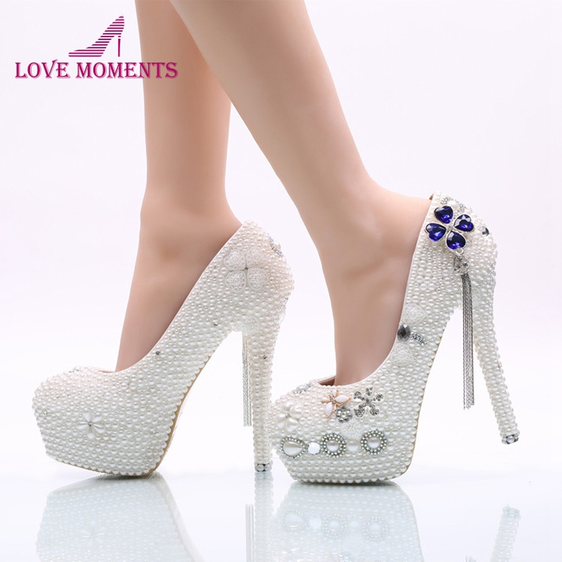 Bridal Wedding Party Shoes White Pearl Women Dress Shoes Girl Adult Ceremony Shoes High Heel Birthday Prom Pumps Plus Size 45 middle heel silver color wedding shoes glitter women comfortable party prom shoes plus size 43 in stock bridesmaid shoes