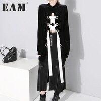 EAM 2017 Metal Ring Crossing Bandage Small Stand Lead Long Type Black Long Sleeve Sweatshirt