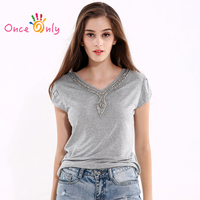 2016 Summer Female Beading Blouses Clothes Knitted Womens Tops Gray Casual Rivet V Neck Crochet Top