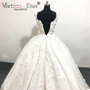 Image 4 - VARBOO_ELSA 2018 Luxury White Lace 3D Appliques Wedding Dresses Custom Bridal Wedding Gown Pearls Wedding Dress vestido de noiva