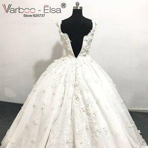 Image 4 - Роскошное белое кружевное свадебное платье varboo_эльза 2018 с 3D аппликацией, свадебное платье по индивидуальному заказу, женское свадебное платье