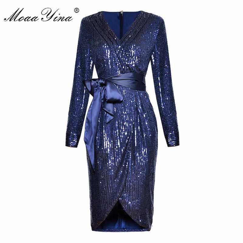 MoaaYina, модное дизайнерское подиумное платье, весеннее женское платье, v-образный вырез, длинный рукав, шнуровка, блестки, сексуальная упаковка, ягодицы, платья