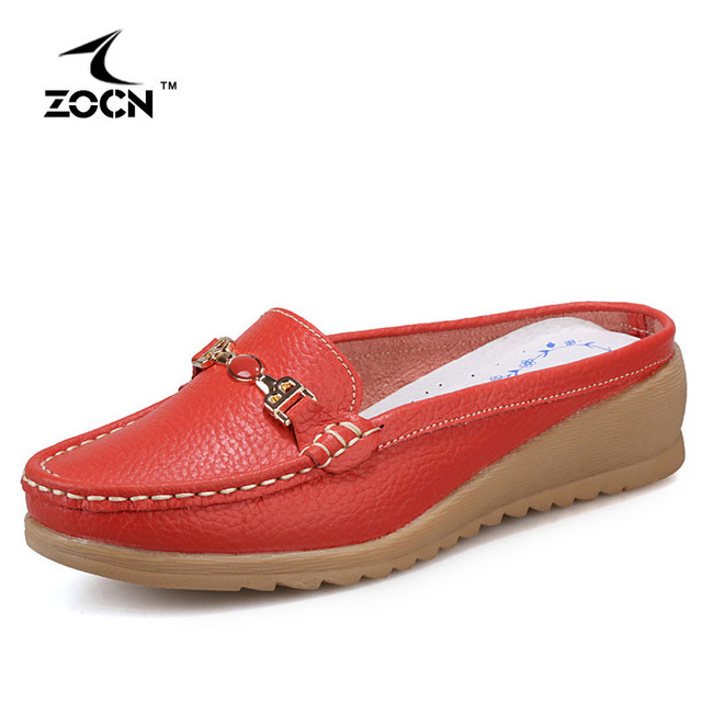 ZOCN 2016 Women Wedges Loafers Genuine Leather Flat Women Platform Shoes Soft Nurse Shoes Woman Breathable Zapatos Mujer