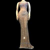 Певица в ночном клубе со стразами танцевальный костюм с блестящими камнями стрейч длинное платье на день рождения Выпускной праздничный на
