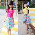 2014 nuevos niños del verano de ropa niños fiesta bailando vestido de las muchachas flor Rose de la gasa vestido