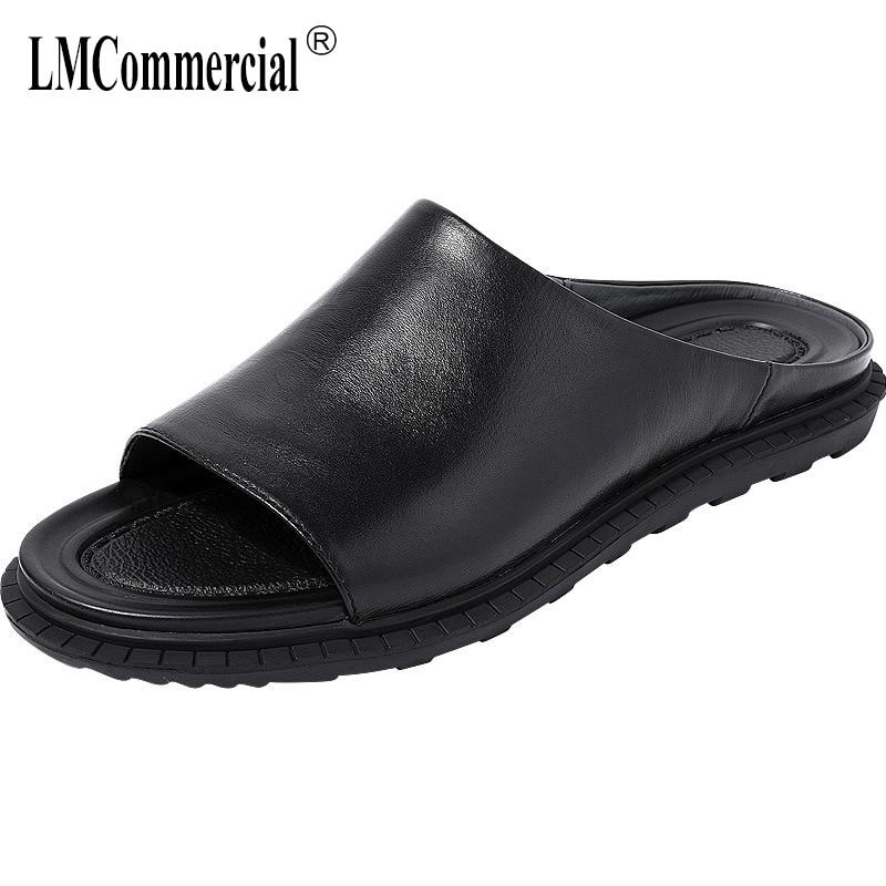 Summer Genuine Leather slippers men casual lazy word drag mens beach shoes fender summer men genuine