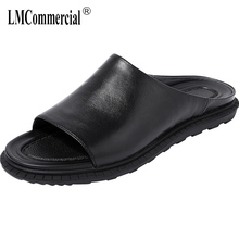 Summer Genuine Leather slippers men casual lazy word drag mens beach shoes fender summer genuine leather