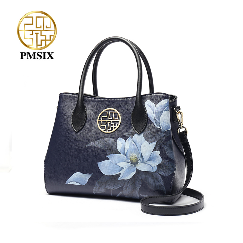 PMSIX  Fashion Cow Leather Women Handbags 2020 New Printed Flowers Cowhide Luxury Ladies  Shoulder & Crossbody Bags