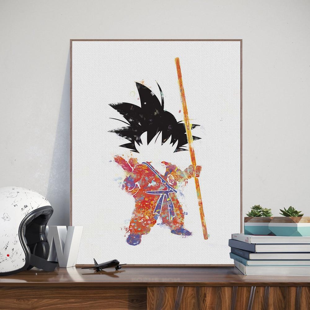 Watercolor Dragon Ball Anime Poster Print Boy Room Deco Wall Art Canvas Painting
