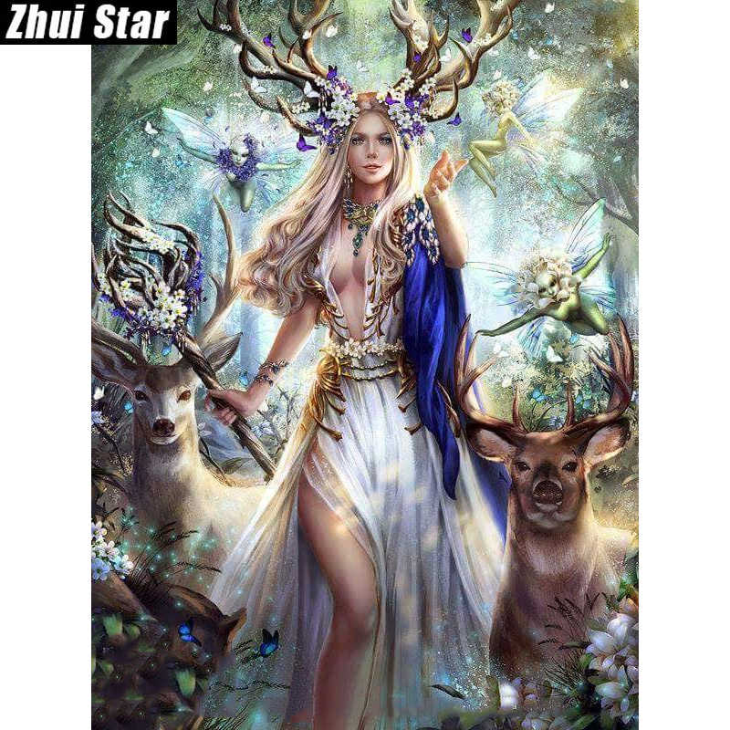 "Zhui Star Full Square Drill 5D DIY Diamond Painting ""beauty & deer"" 3D Embroidery set Cross Stitch Mosaic Decor gift VIP"