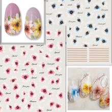 Newest MGM-04 09 mixed flower design 3d nail sticker template back glue decal DIY decorations