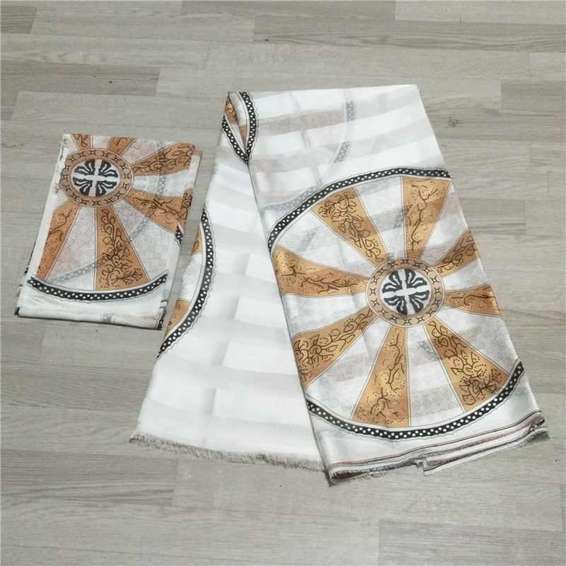 Hot sale Gahna Style satin silk fabric with organza ribbon African wax design J52501