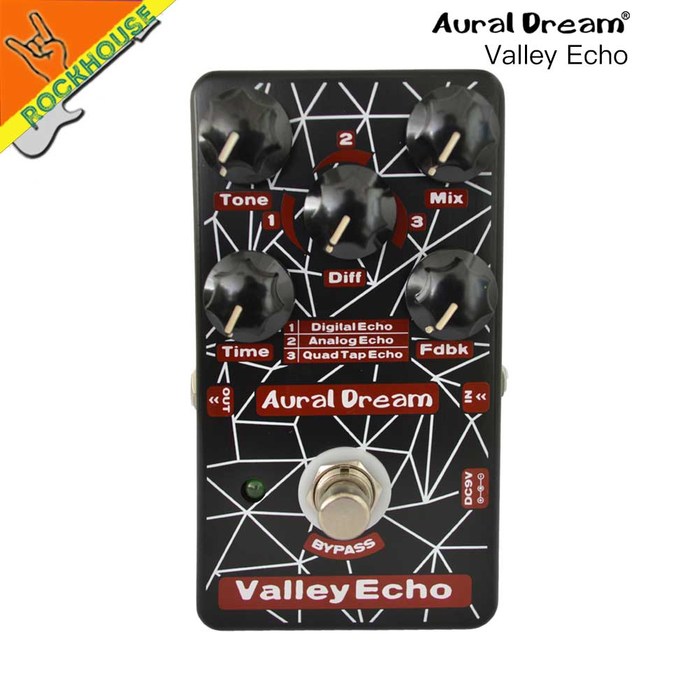 Auraldream Valley Echo Digital Echo Delay Guitar Effects Pedal Space Echo Guitarra Pedal 3 models True Bypass Free Shipping caline snake bite reverb guitar effects pedal reverb guitarra pedal stompbox with echo delay effect true bypass free shipping