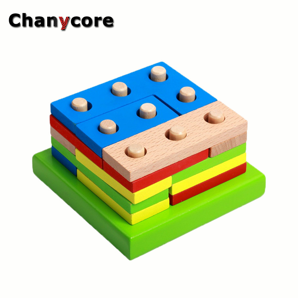 Baby Learning Educational Wooden Toys Geometric Shape Blocks Column Board Sorting Matching ddm Montessori Kids Gifts 4121