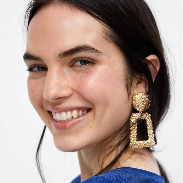 Big Vintage Indian Earrings For Women Silver Gold Color Geometric Statement Earings ZA Metal Earrings Hanging Bohemian Jewelry