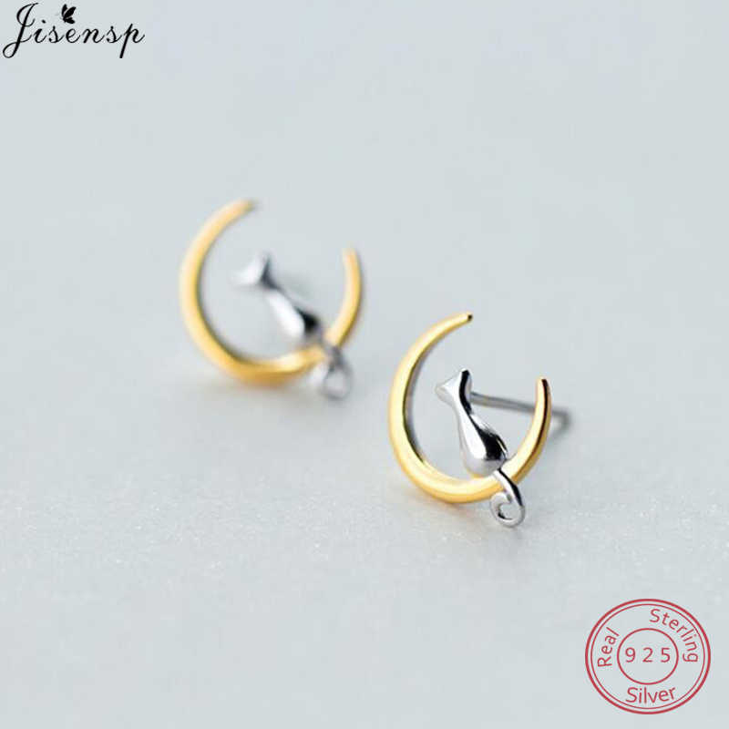 Jisensp Cute Animal Earrings Lovely Cat Sit On Moon Stud Earrings 925 Sterling Silver Jewelry Women Pet Earings Femme Bijoux