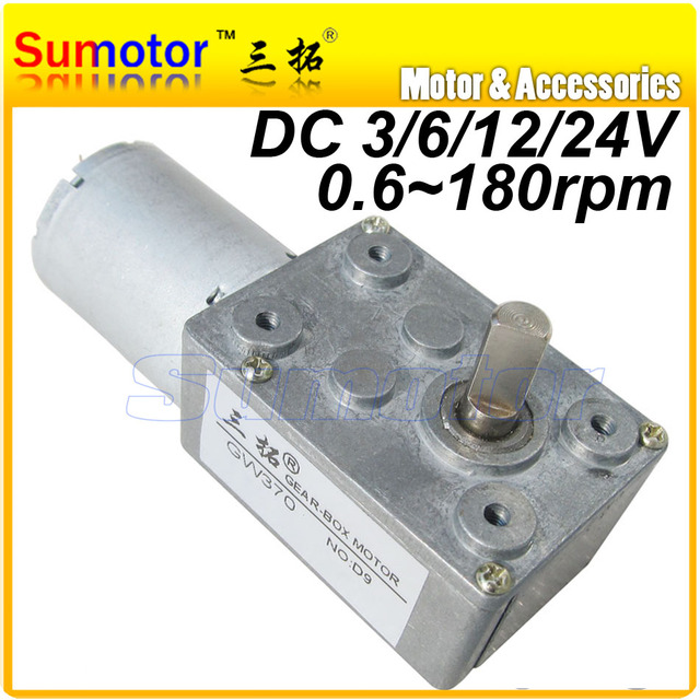 12RPM DC Worm Reducer Geared motor, 45N*cm GW370 6V 0.18A mini Ultra low speed gear box Electric Motor for DIY robot RC car tank