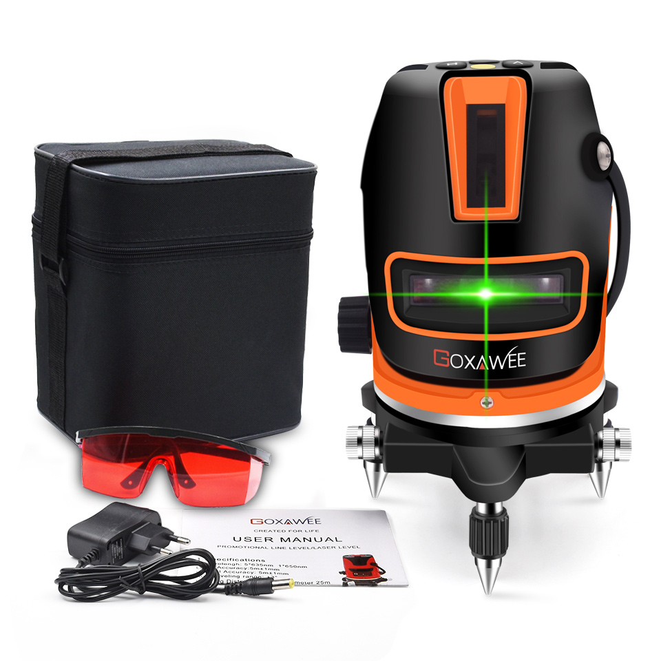 GOXAWEE 360 Degree Laser Level 5 Lines 6 Points Rotary Cross Line Self-Levelling Measuring Laser Outdoor Mode Construction ToolsGOXAWEE 360 Degree Laser Level 5 Lines 6 Points Rotary Cross Line Self-Levelling Measuring Laser Outdoor Mode Construction Tools