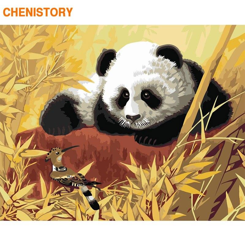 CHENISTORY Rahmen Chinesischen Panda DIY Malerei Durch Zahlen Moderne Hause Wand Kunst Bild Färbung Durch Zahlen Für Home Decor Kunstwerk