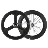 Front 70mm 3 Spoke Wheel Rear 88mm Carbon Wheelset For Track Bike Fixed Gear Clicher Carbon