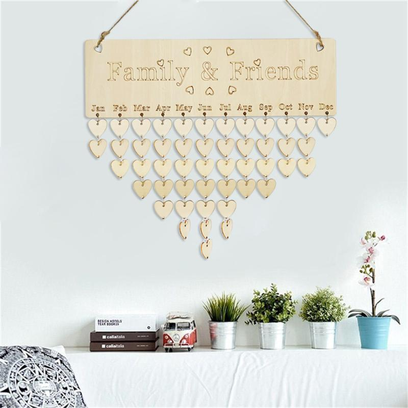 DIY Wooden Calendar Friends Family Heart Printed Wall Calendar Sign Special Dates Reminder Board Home Agenda Hanging Decor Gifts mew forest heart printed room decor wall sticker