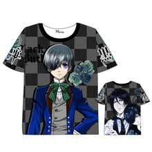 Anime Black Butler T-shirt Men Women Short Sleeve Summer dress Cartoon  Sebastian Michaelis t shirt