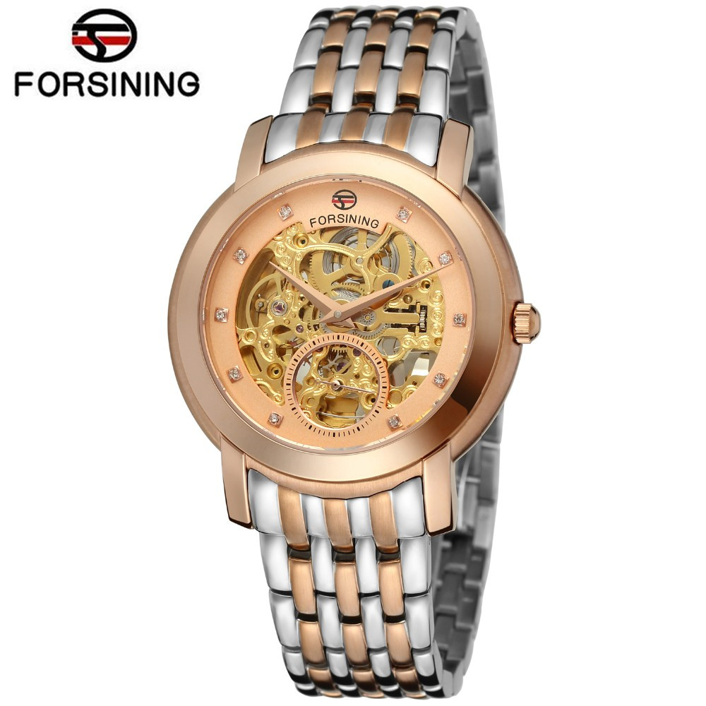 Forsining Automatic Watch Men Luxury Diamond Display Skeleton Mechanical Watch Rose Gold Dial Wristwatch Gift Box forsining automatic men s watch luxury brand militry wristwatch mechanical watch arabic numerals dial gold cuff chain band clock