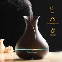 EU US Plug 550ml Aroma Essential Oil Diffuser Ultrasonic Air Humidifier With Wood Grain 7Color LED